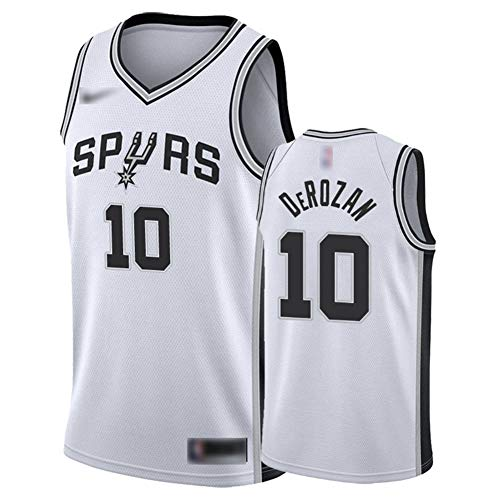 ATI-HSKJ Männer Basketball-Trikots San Antonio Spurs 10# Demar DeRozan Sport Tops Basketball Westen Schnelltrocknende Ärmel Jersey Weiß BH372,M:170cm~175cm