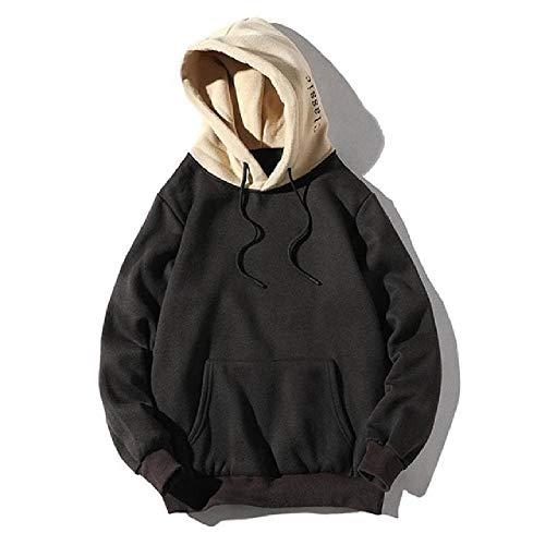 Unbekannt Herren-Sweatshirts, modisch, lässig, Patchwork-Kapuzenoberteil, Bluse, Sweatshirt mit Taschen Gr. Medium, Schwarz