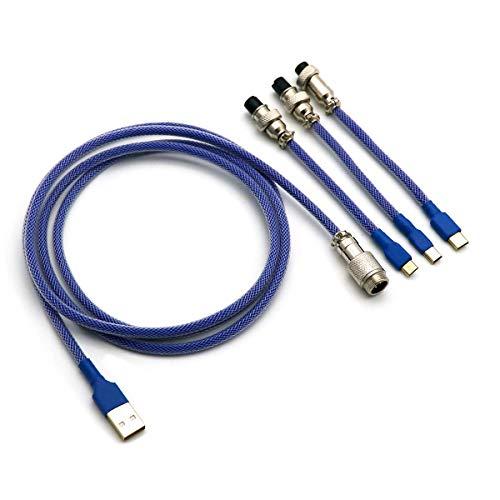 Kraken Keyboards Doppelummanteltes Keyboard-Kabel mit Aviator-Anschluss, passend für Typ-C, Micro-USB und USB-Mini-Tastaturen (dunkelblau)