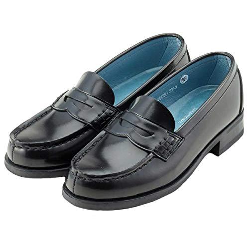 [ハルタ] レディース スクールローファー コインローファー 通学 学生靴 45050 3E ブラック (measurement_24_point_5_centimeters)