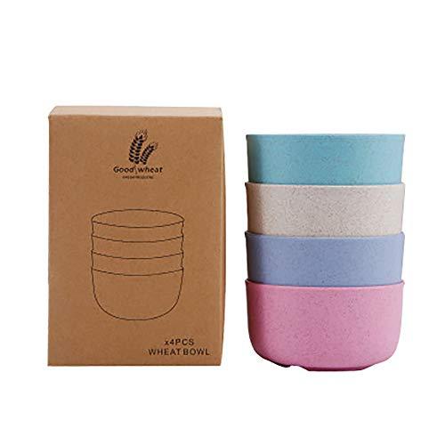 Müslischalen, Weizenstroh Material, unzerbrechlich Müslischalen, 4 Farben Schalen, Mikrowelle und spülmaschinenfest, BPA frei