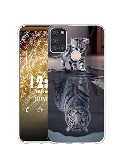 Sunrive Kompatibel mit Wiko View 5/View 5 Plus Hülle Silikon, Transparent Handyhülle Schutzhülle Etui Hülle (TPU Tiger Katze)+Gratis Universal Eingabestift MEHRWEG