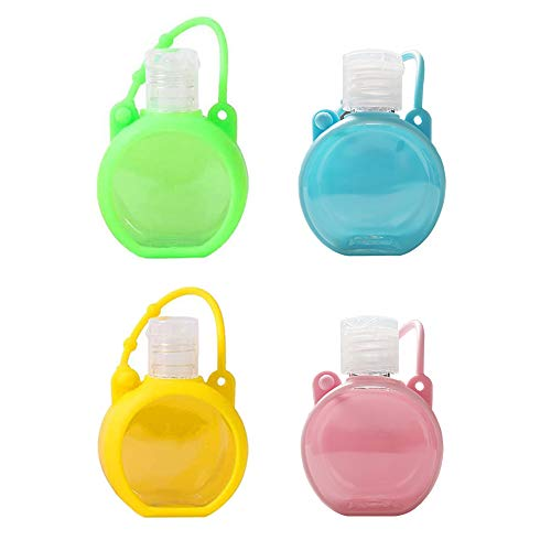 Empty Travel Bottle Hand Sanitizer Holder with Silicone Case Keychain Keyring Leak Proof, 30ml Plastic Squeeze Bottles Portable Refillable Reusable Travel Bottles (4PACK, Blue+Green+Pink+Yellow)