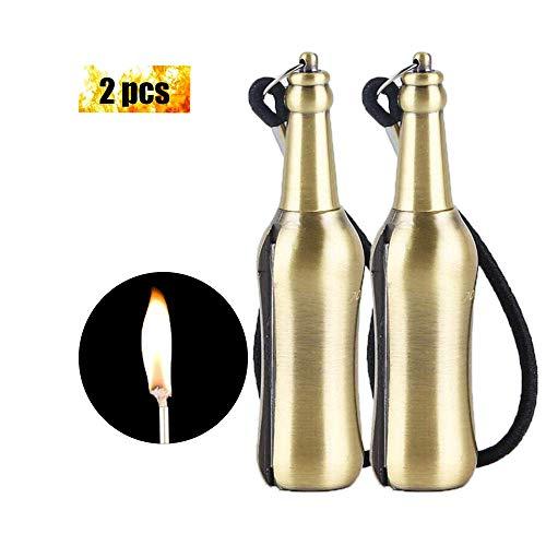 fiammifero in metallo fiammiferi Accendino inesauribile in Permanente Accendino di sopravvivenza, EDAHBJNEST5MK per emergenze, sopravvivenza, campeggio, ideale come regalo (2 PCS Golden)