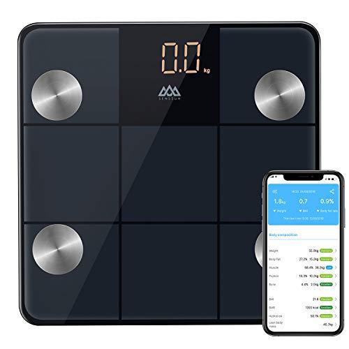 SENSSUN Körperfettwaage Bluetooth Personenwaage Smart Digitale Körperwaage Körperanalysewaage Smart Waage für Körperfett BMI LED Display Größere Wiegefläche 30 * 30cm (Schwarz)