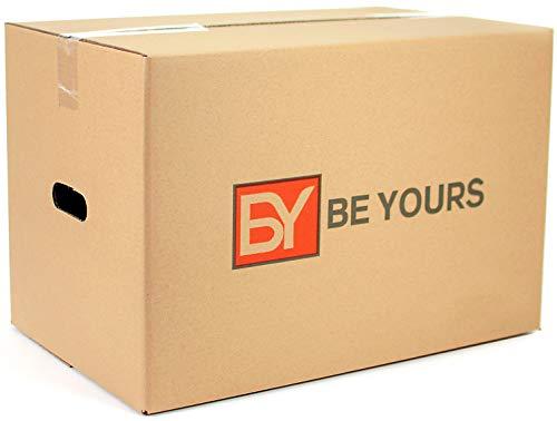 BEYOURS Pack de 20 Cajas Carton Mudanza con asas -  430x300x250 mm -  Cajas Mudanza Ultraresistentes -  Cajas Almacenaje ECO- FRIENDLY -  Fabricadas en España