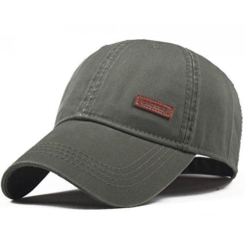 CACUSS Uomini Cotone Cappello da Baseball Regolabile Cappellini da Baseball per Ambientazione Esterna, Sport, Viaggi (B0080_Oliva)