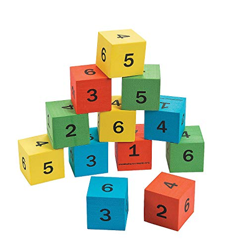 Fun Express Foam Number Math Dice - 12 Pieces - Educational and Learning Activities for Kids