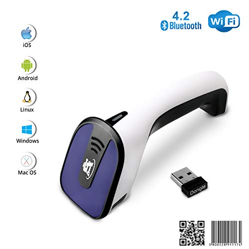 ScanAvenger Portable Wireless Bluetooth Barcode Scanner: 3-in-1 Hand Scanners - Cordless, Rechargeable 1D and 2D Scan Gun for Inventory Management - Wireless, Handheld, USB Bar Code/QR Code Reader