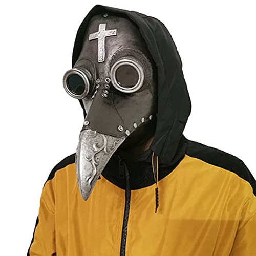 Máscara de pájaro de la peste doctor largo pico de la nariz Cosplay steampunk Halloween accesorios de traje de PU material de cuero