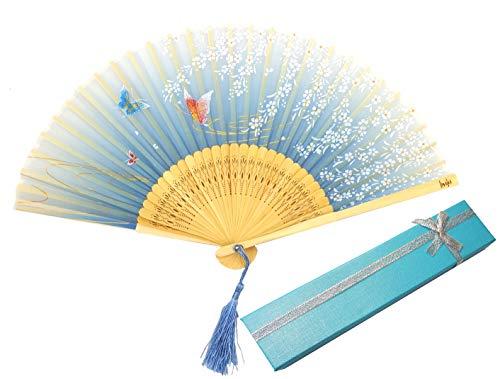Libetui Handfächer Vintage Japan Stil Fächer aus Bambus und Stoff Dekofächer Kostüm Theater Sommer Feste Hochzeit Deko Hand Fan Geschenkbox Farbe Hellblau