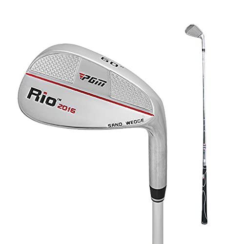 """PGM Golf Sand Wedge Nouvelle cale de tangage à 56 degrés ou 60 degrés au Choix, Ordinaire, en Alliage de Zinc et en Acier Inoxydable, pour droitier, 35"""",Silver/Red Line 60°"""
