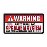 盗難 防犯 いたずら 事故 防止 セキュリティ ステッカー シール GPS WARNING 車 自転車 バイク 防水 耐水 (レッド&ホワイト, 1枚)