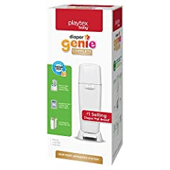 ALL IN ONE DIAPER PAIL - Diaper Genie's ultimate diaper disposal system controls odors and makes changing your baby's dirty diapers a breeze. Our tallest pail requires no bending with a foot pedal for easy, hygienic and hands-free opening. BUILT IN A...