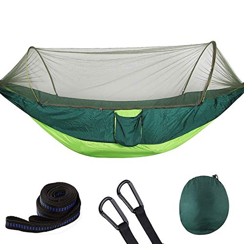 GlISR Portable Hammock With Mosquito Net Parachute Fabric Hammock Net, Durable And Portable, Suit For 2 Persons, Tree Tent, Outdoors (Color : Light green and gree)