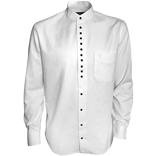 The Celtic Ranch Traditional Irish Grandfather, Men's Long-Sleeve Collarless Shirt, White (Large)