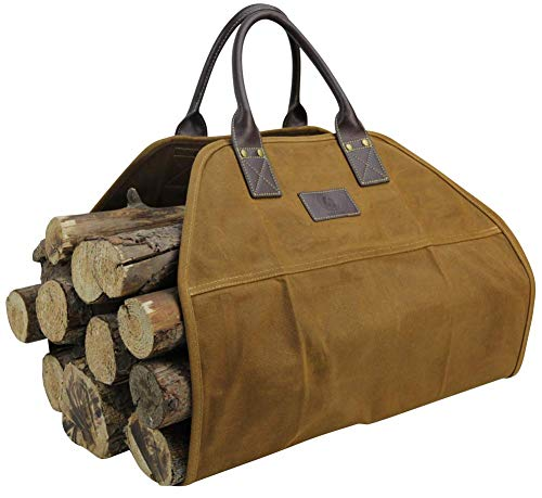 Good Gain Firewood Carrier Real Leather Handle Heavy Duty 16OZ Waxed Canvas Tote Bag Water Proof amp Dust Proof Firewood Cover Fireplace Holders Khaki