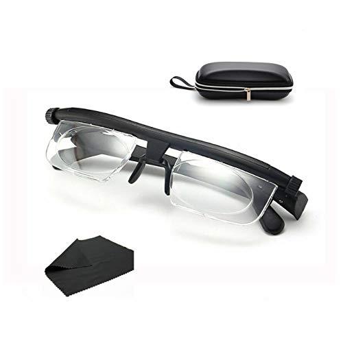 Einstellbare Fokus-Lesebrille, 6Dto + 3D-Dioptrien Brille mit variabler Linsenkorrektur und Brille Gehäuse Manuelle Fokussierung für Männer Frauen