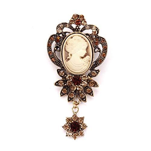 Bleyoum Broche Broche De Camafeo con Colgante De Flor De Cristal De Estilo Vintage En Color Dorado O Plateado Antiguo para Mujer