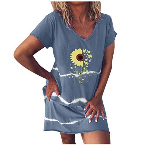 Sannysis Kleid Damen Sommerkleid Tunika Freizeitkleid Sonnenblumen Strandkleid Casual Bunt Farbverlauf Minikleid Rundhals Kurzarm Knielang T-Shirtkleid