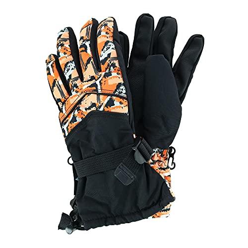 Grand Sierra Boy's 8-12 Camo Print Waterproof Snowboard Glove, Orange