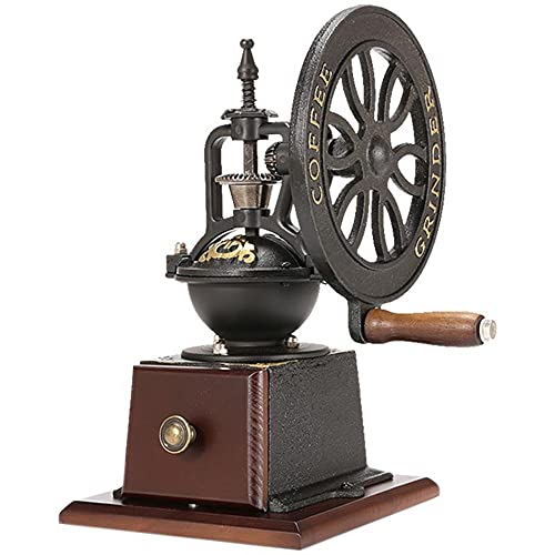 BAOZ Retro Manual Coffee Grinder Ferris Wheel Home Grinding Machine Cast Iron Hand Crank Adjustable Grinder Antique Cast Iron Hand Crank Coffee Mill with Grind Settings & Catch Drawe