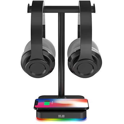 RGB Dual Headphone Stand with Wireless C...