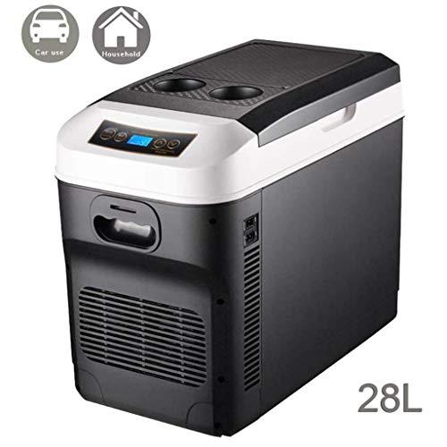 APcjerp 28L Kühlschrank Auto Kühlschrank 24V 12V 220-240V Autokühler elektrische Kühlboxen for LKW-Camping Long Distance Driving transportabel- Brown (Farbe: braun) hslywan (Farbe: weiß) Hslywan