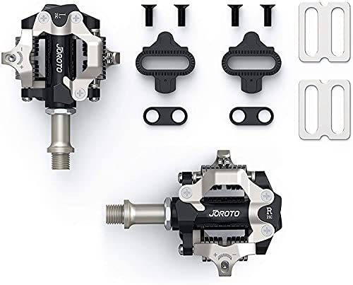 JOROTO Pedali MTB Pedali SPD 9/16 inch Universali Pedali Bici Incluse Set di tacchette SPD compatibili con Shimano Mountain Bike Ciclismo