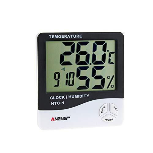 HTC-1 Medidor de Humedad Digital electrónico LCD para Interiores Medidor de Humedad Termómetro higrómetro Reloj Despertador Estación meteorológica (Negro) Jasnyfall