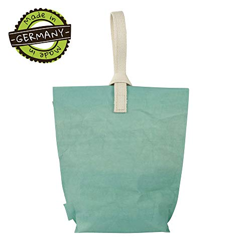 papyrMAXX Lunchbox YUMMY PLUS Maat L - milieuvriendelijke buidel als lunchbox van wasbaar papier I Lunchbuidel opvouwbaar in urban stijl made in Germany - Lunchbag groot 23 x 33 cm natural mint