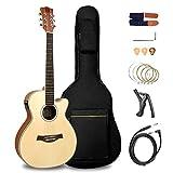 Vangoa Guitarra Acústica de 36 pulgadas Ecualizador de 2 bandas Cutaway Guitarra Electro Acústica para principiantes, Incluye paquete de accesorios