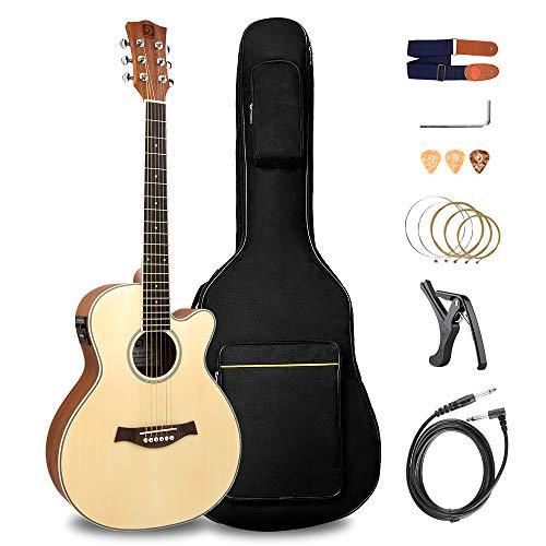 Vangoa Elektrische Akustikgitarre 36 Zoll 2 Band EQ Cutaway 3/4 Elektro Akustik Gitarre Anfänger Set Reise Gitarre