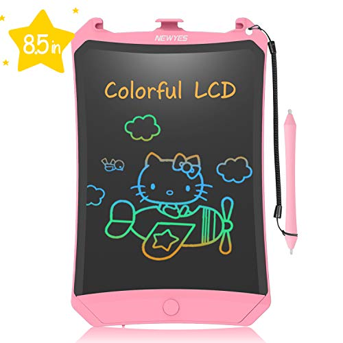 NEWYES Kids LCD Writing Tablet,8.5inch Writing Board Electronic Digital Drawing Board Colourful Screen Lock Switch Kids Toys Learning Tool for Boys Girls(Pink)