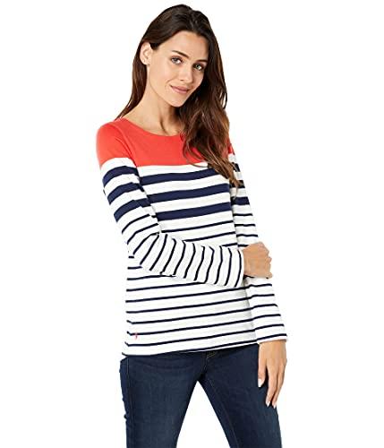 Joules Women s Harbour T-Shirt, Cream Navy Red Stripe, 18