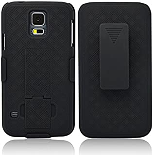 Galaxy S5 Case, Customerfirst Combo Shell & Holster Case Super Slim Shell Case w/Built-in Kickstand + Swivel Belt Clip Holster for Samsung Galaxy S5 (Black)