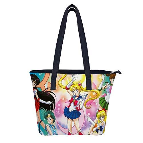 Sailor Moon Taschen für Frauen Große Handtaschen Leder Schultertasche Damen Synthetik Crossbody Taschen