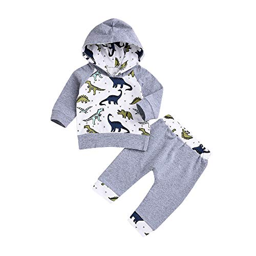 Baby Born Kleidung Set,Yanhoo Jumpsuit Kapuzenpullover Overall Baby Unisex Kleidung Babykleidung Jungen Mädchen Cartoon Dinosaurier Print Tops +Hosen Outfits 2pcs Set Kleidung