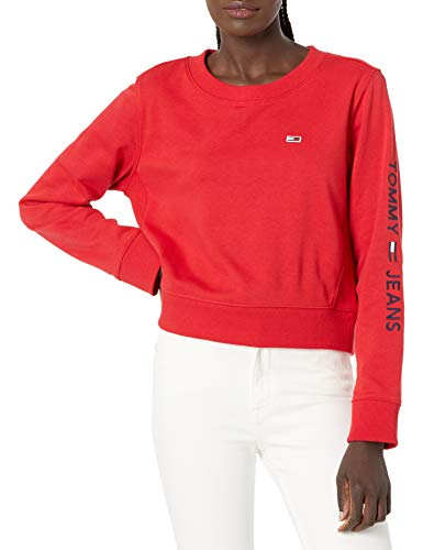 Tommy Hilfiger Damen Classic Crewneck Sweatshirt T-Shirt, scharlachrot, Mittel