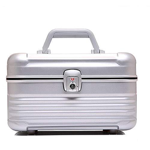 ZXL Organisateur cosmétique Aluminium Cosmetic Bag Sac à cosmétiques Portable Grande capacité Sac de Rangement cosmétique Sac de Rangement Portable Valise Boîte à Bijoux (Couleur: Argent, Taille