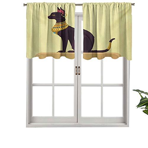Hiiiman Cortinas cortas con cenefa, bloqueando la luz, diseño de gato de dibujos animados místicos con imagen de pendiente, juego de 2, cortinas de ventana de 42 x 36 pulgadas para sala de estar