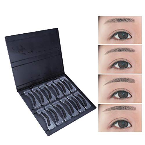 12pcs modèle de sourcil, kit de tatouage amélioré maquillage rapide pochoirs à sourcils cartes de tatouage de sourcils en plastique de toilettage gabarit guide de maquillage DIY