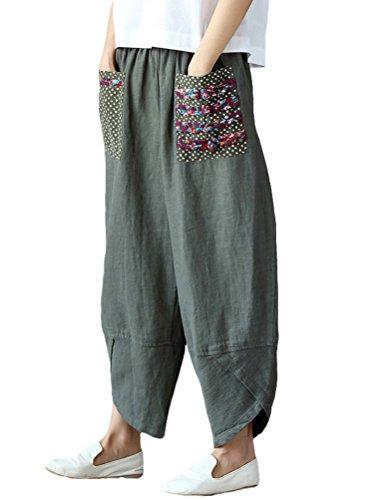 FTCayanz Damskie spodnie z lnu, szerokie, styl casual, patchwark, elastyczny ściągacz, spodnie haremu
