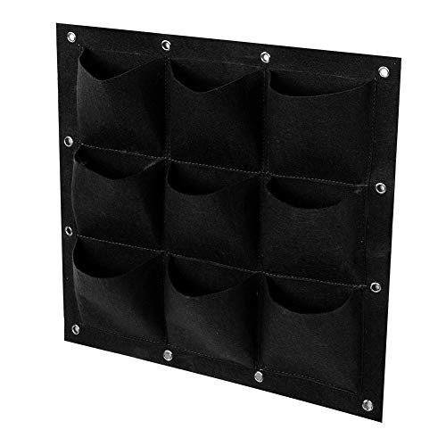 wosume Vertical Plant Bag, Garden Beds Outdoor Waterproof Wall Plant Pocket, for Vegetables Balcony Garden Window Flower Nursery Production Home Furnishings(Black)