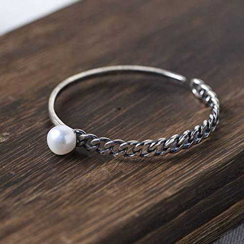 THT S925 Vintage zilveren armband voor dames en heren, platte zoetwaterparels, kettingtank, eenvoudig en elegant, modieus, creatieve persoonlijkheid, mooi cadeau
