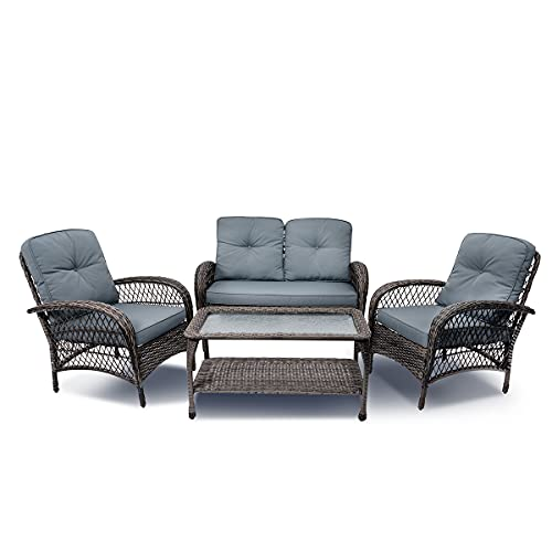 YASRKML 4pcs Outdoor Patio Furniture Set, Wicker Conversation Set with Waterproof Cushion, Rattan Sectional Sofa with Coffee Table, Bistro Garden Porch Balcony Deck Chair Sets Clearance Furniture