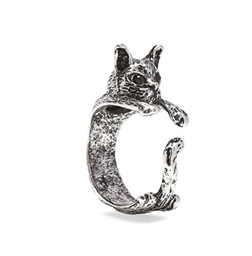 Serebra Jewelry Katzen Ring mit Silber-, Bronze-, Schwarztönung Größenverstellbar (Silber)