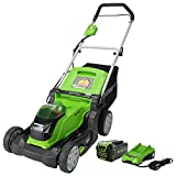 Get 7% discount by applying coupon for Greenworks 40V 17-Inch Cordless Lawn Mower, 4Ah Battery and Charger, MO40B411. Save $22.00.