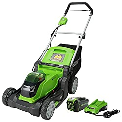 in budget affordable 17-inch brush lawn mower with Greenworks G-MAX 40V 4 Ah battery and charger – Model 2508302