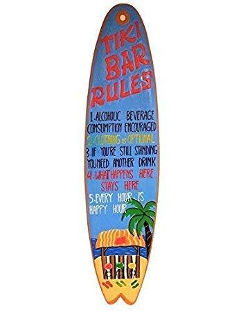 Free Brand 61 x 20 cm All Seas Imports personalizado único tallado a mano y pintado madera Tiki bar reglas de tabla de surf refranes decoración del hogar placa de arte de pared muestra regalos 810518